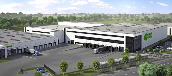 Der zukünftige Erweiterungsbau am Standort Päpinghausen bei Minden in der Visualisierung, ©WAGO Kontakttechnik GmbH & Co. KG 2018